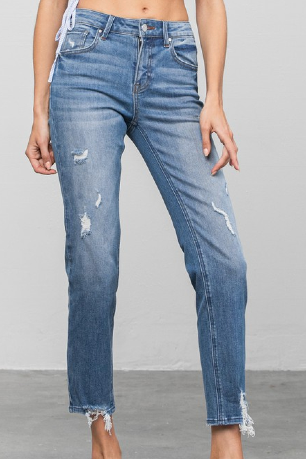 Insane Mid Rise Distressed Skinnies - Front Cropped Image
