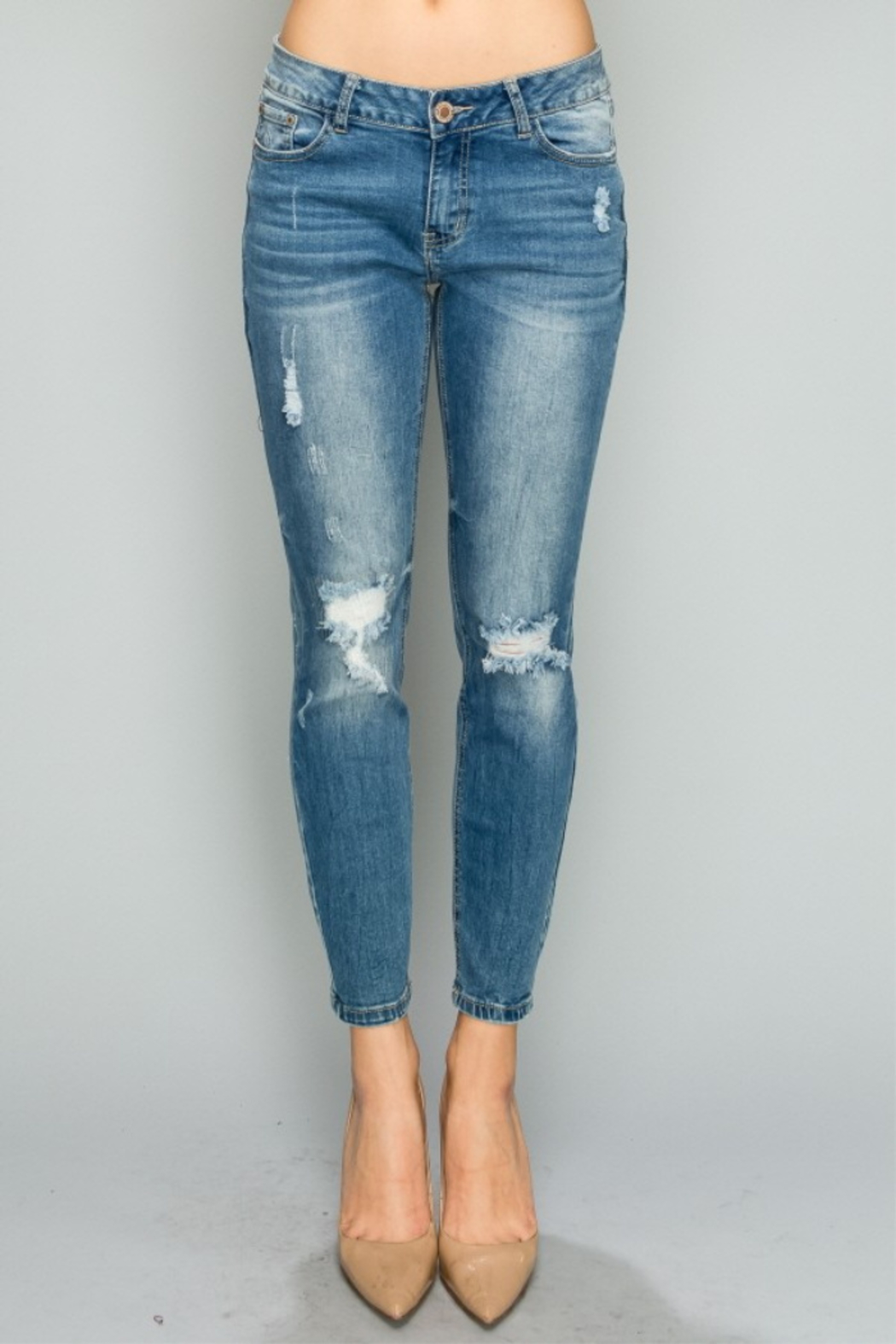 Lyn -Maree's Mid Rise Distressed Skinnies - Front Cropped Image