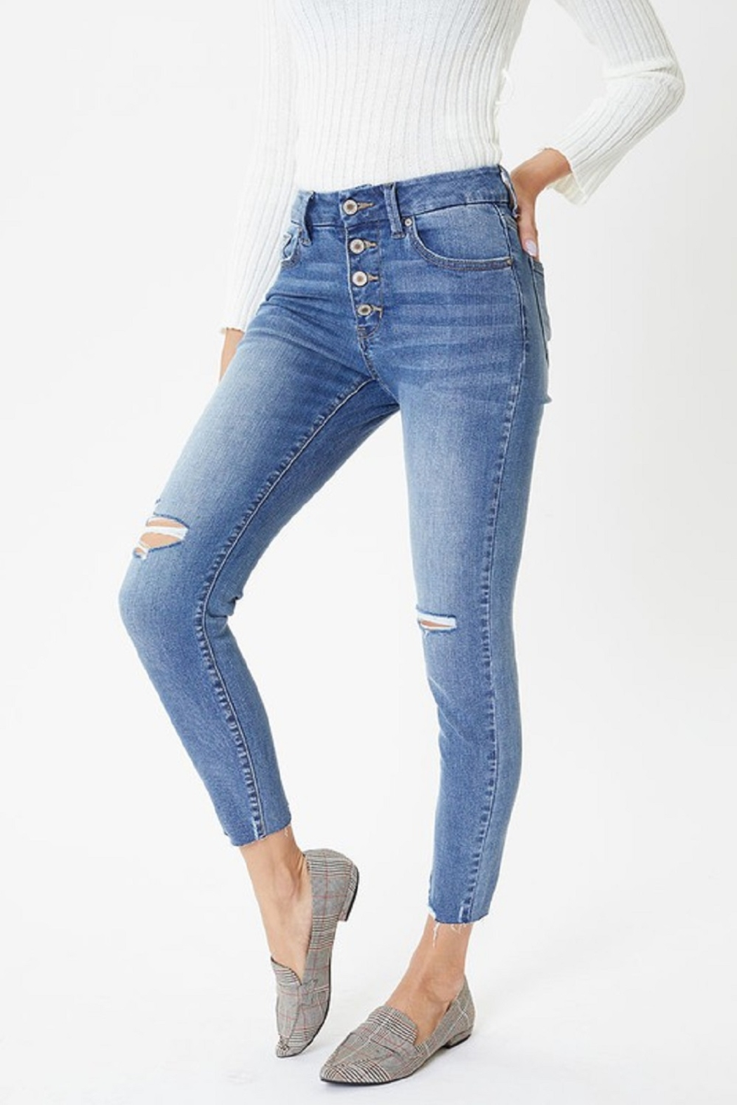 KanCan Mid Rise Exposed Button Skinny - Main Image