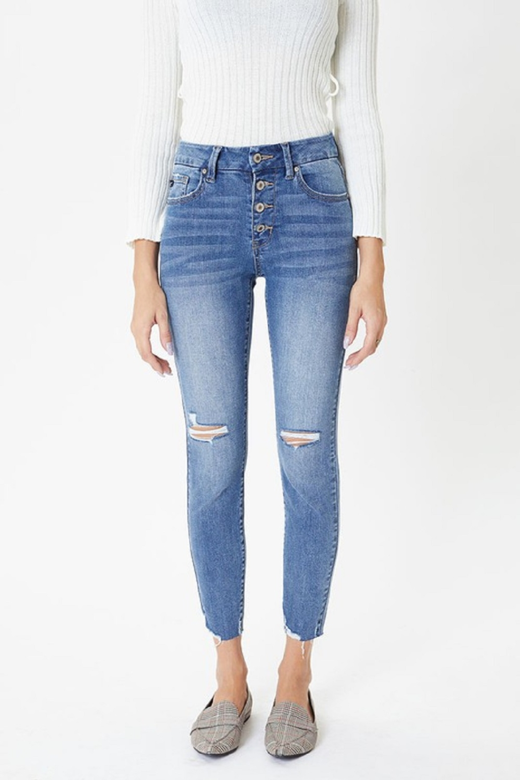 KanCan Mid Rise Exposed Button Skinny - Side Cropped Image