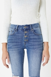 KanCan Mid Rise Exposed Button Skinny - Front full body