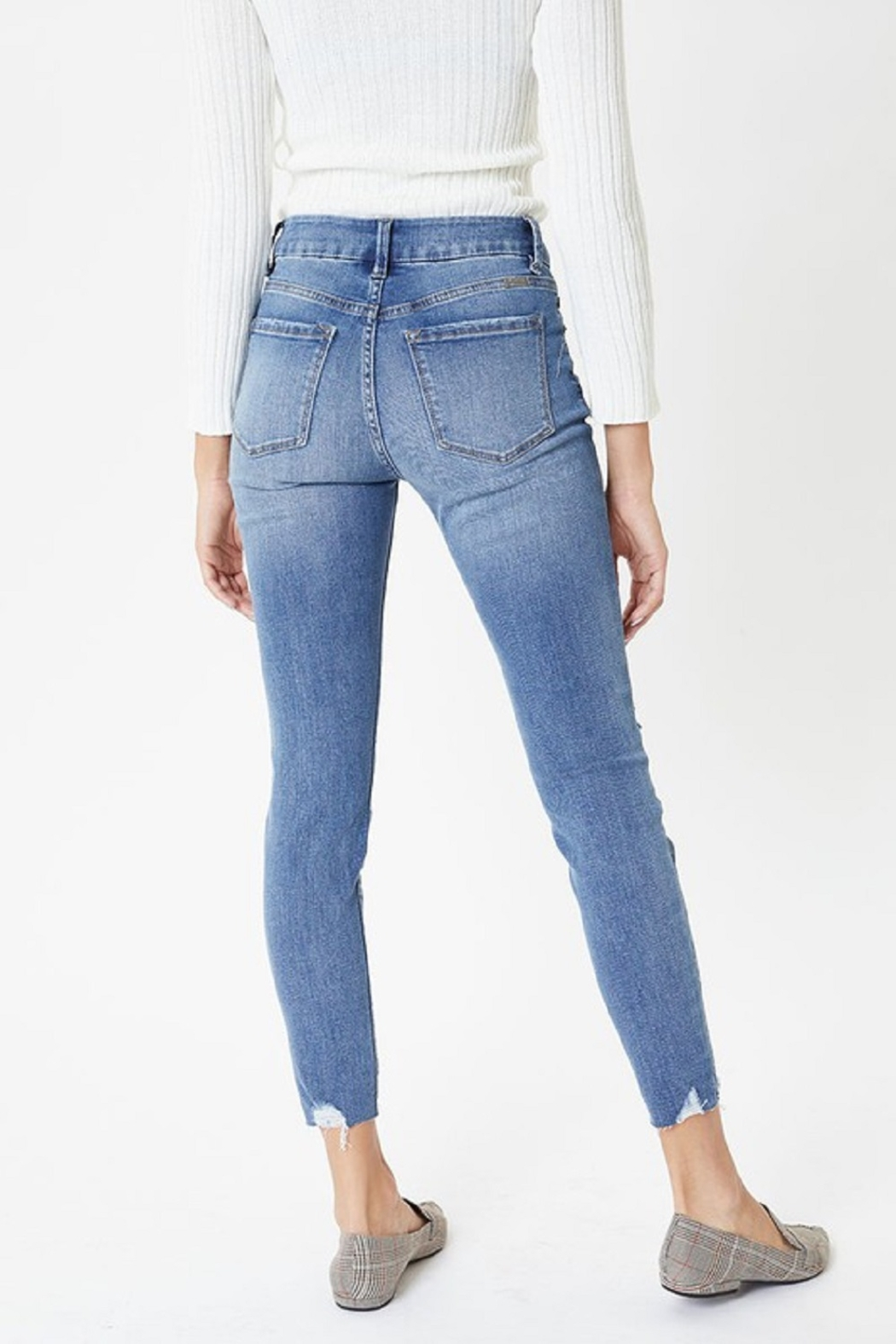 KanCan Mid Rise Exposed Button Skinny - Back Cropped Image