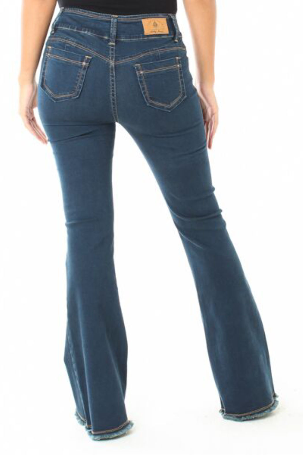 Funky Soul Mid-rise Fray Hem Flare Jean - Front Full Image