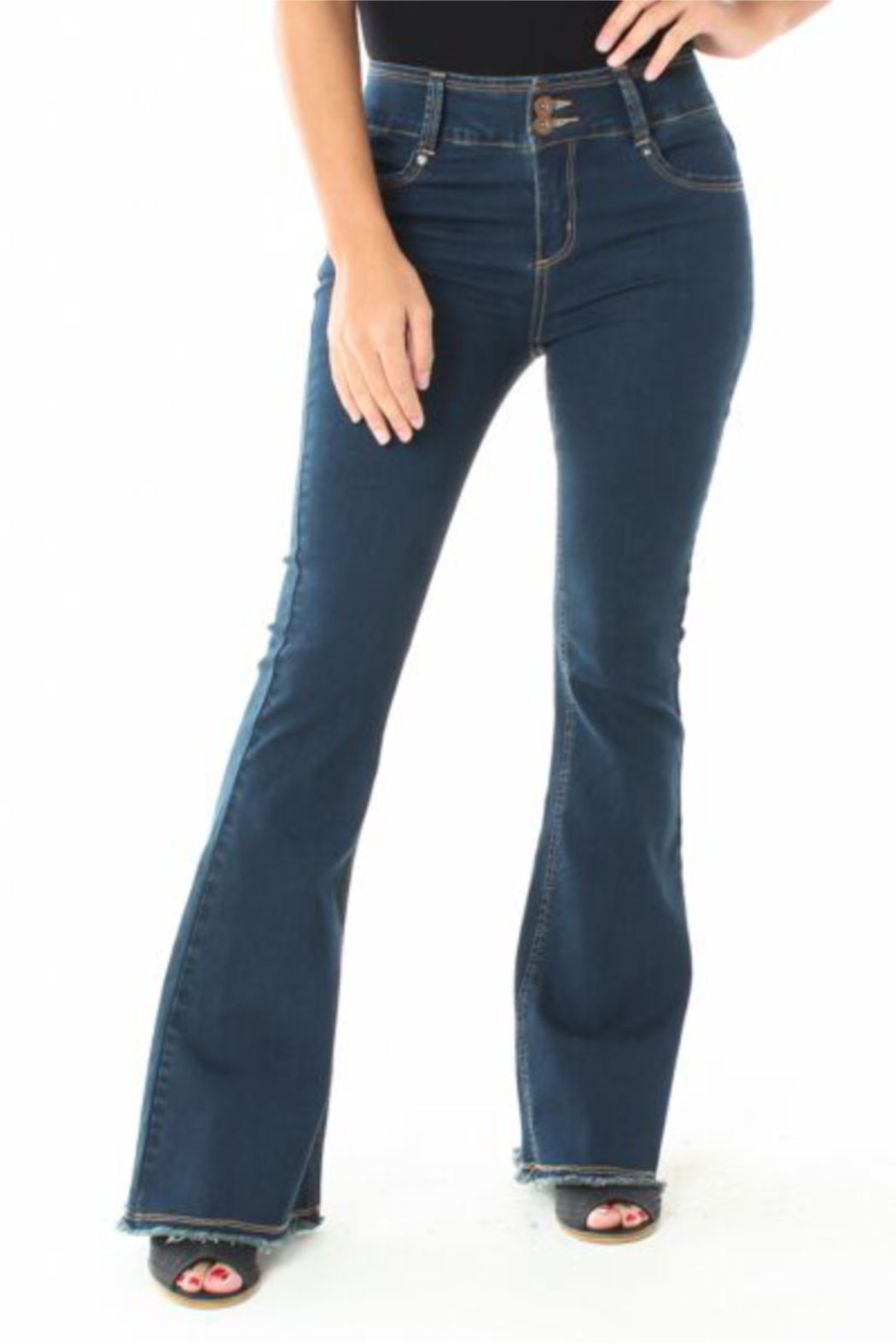 Funky Soul Mid-rise Fray Hem Flare Jean - Main Image