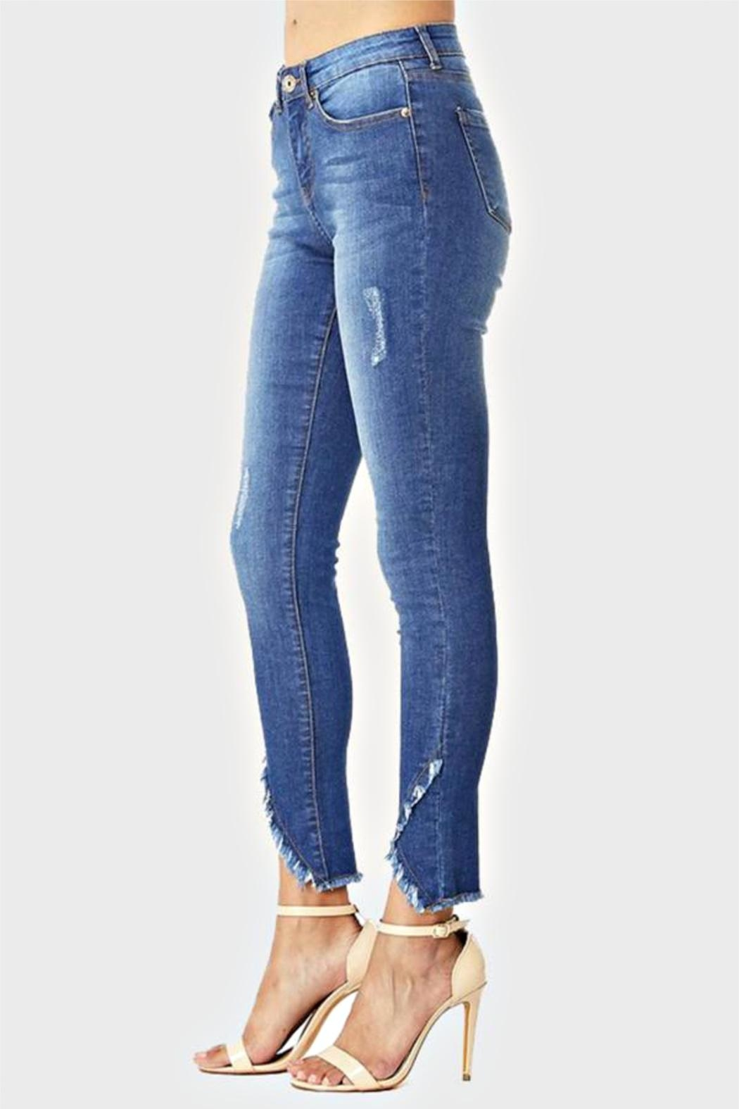 Muselooks Mid-Rise Frayed-Ankle Skinny-Jean - Side Cropped Image