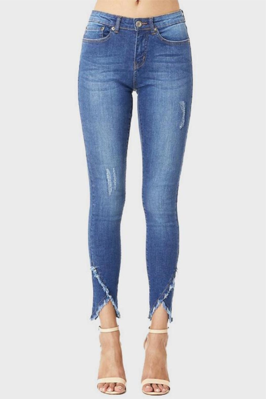Muselooks Mid-Rise Frayed-Ankle Skinny-Jean - Main Image