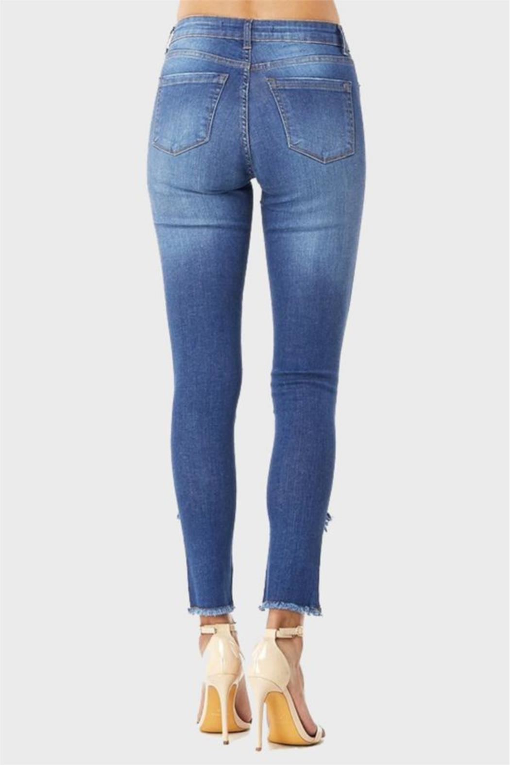 Muselooks Mid-Rise Frayed-Ankle Skinny-Jean - Front Full Image
