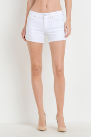 Just USA Mid Rise Frayed Hem Shorts - Front cropped