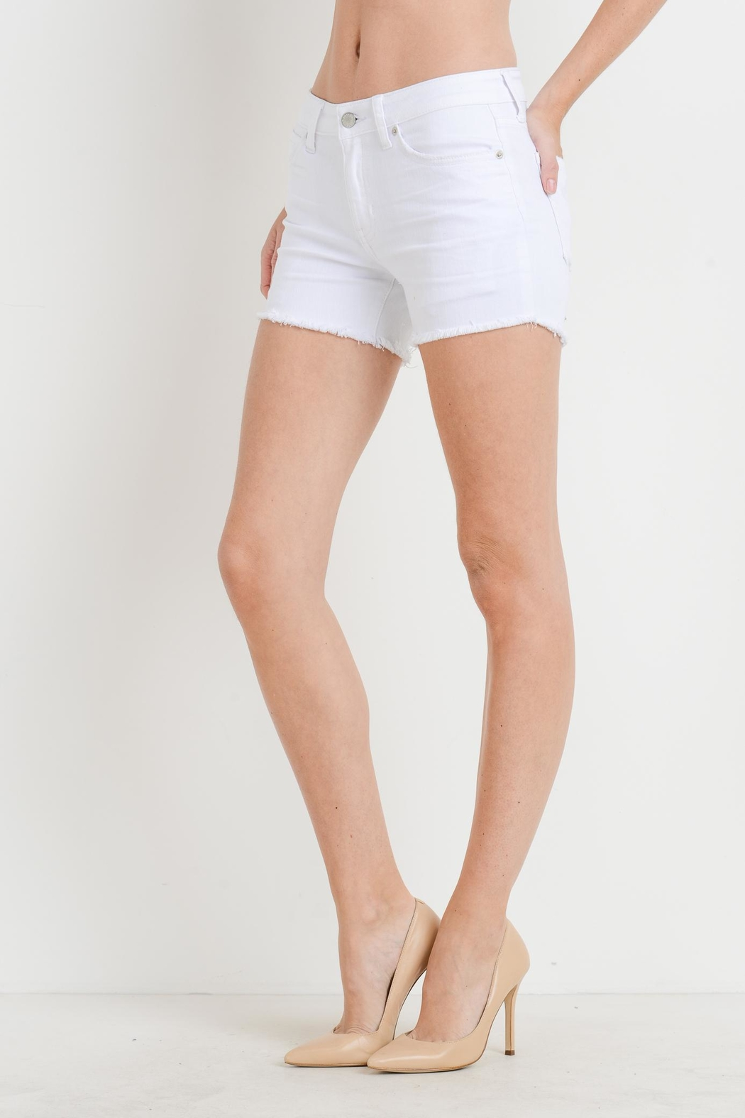 Just USA Mid-Rise Frayed Shorts - Front Full Image