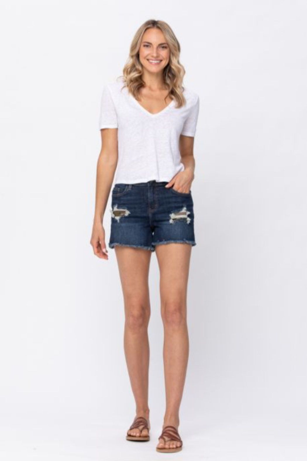 Judy Blue Mid Rise Leopard Patch Shorts - Main Image