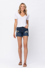 Judy Blue Mid Rise Leopard Patch Shorts - Front cropped