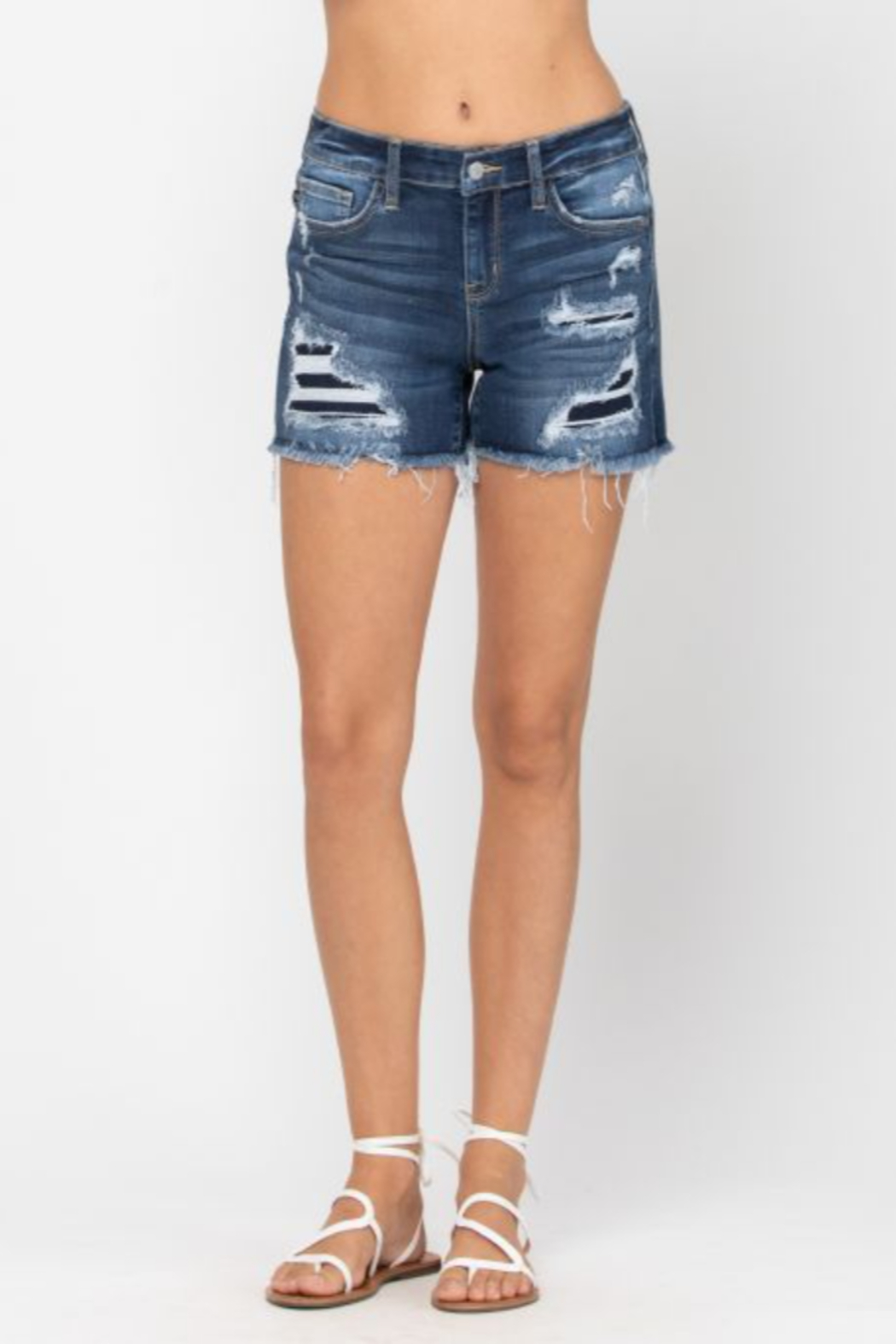 Judy Blue Mid Rise Patch Cut Off Shorts - Main Image