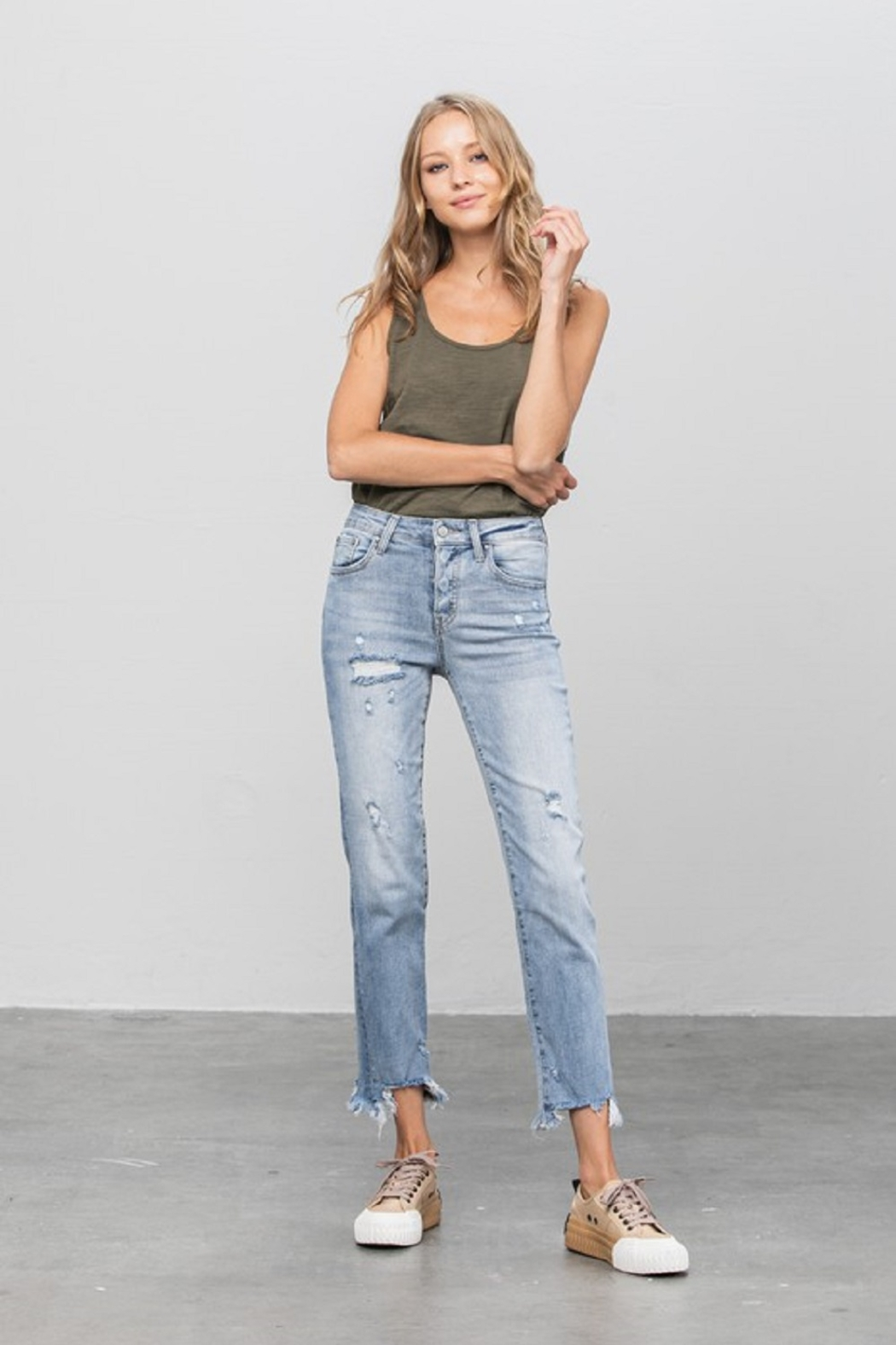 denim lab USA Mid-Rise Straight Jean - Back Cropped Image