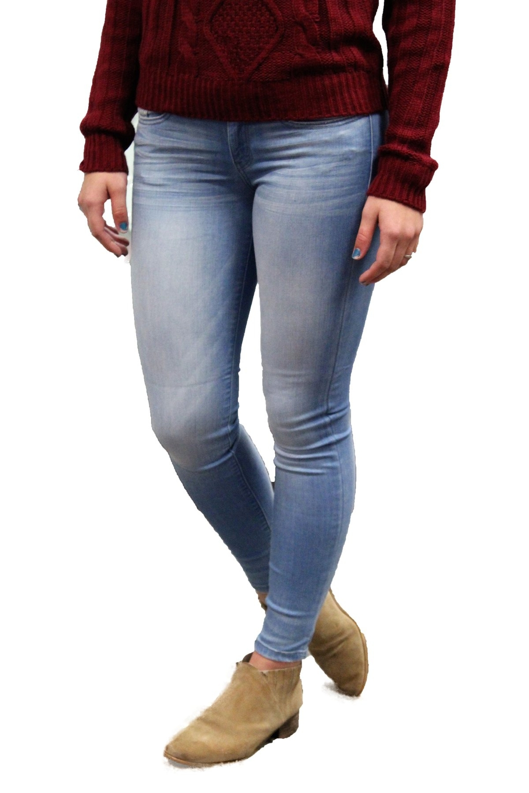 Judy Blue Mid Rise Stretch Light Wash Jeans - Main Image
