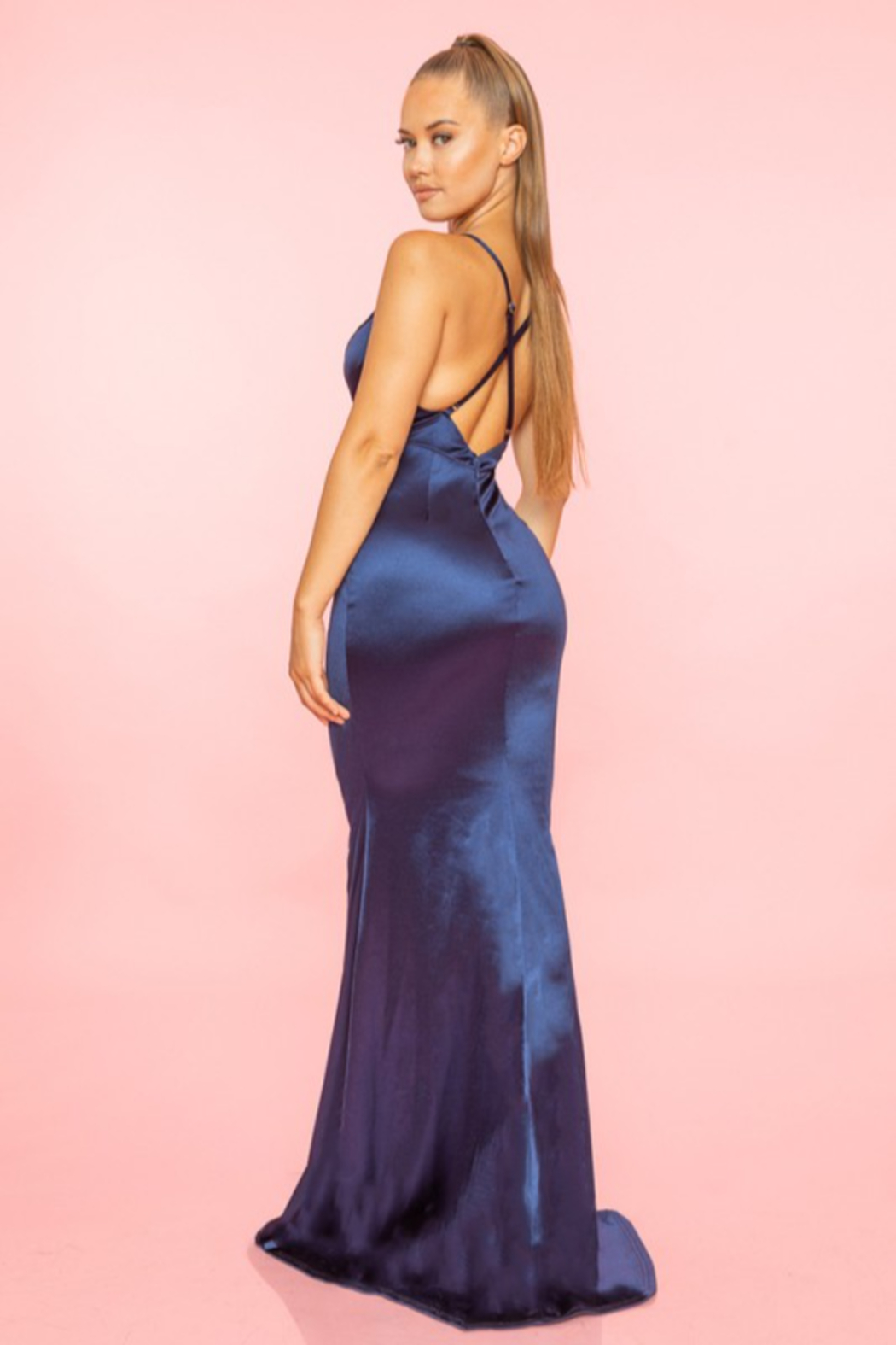 A. Peach Middle Slit Silk Gown - Side Cropped Image