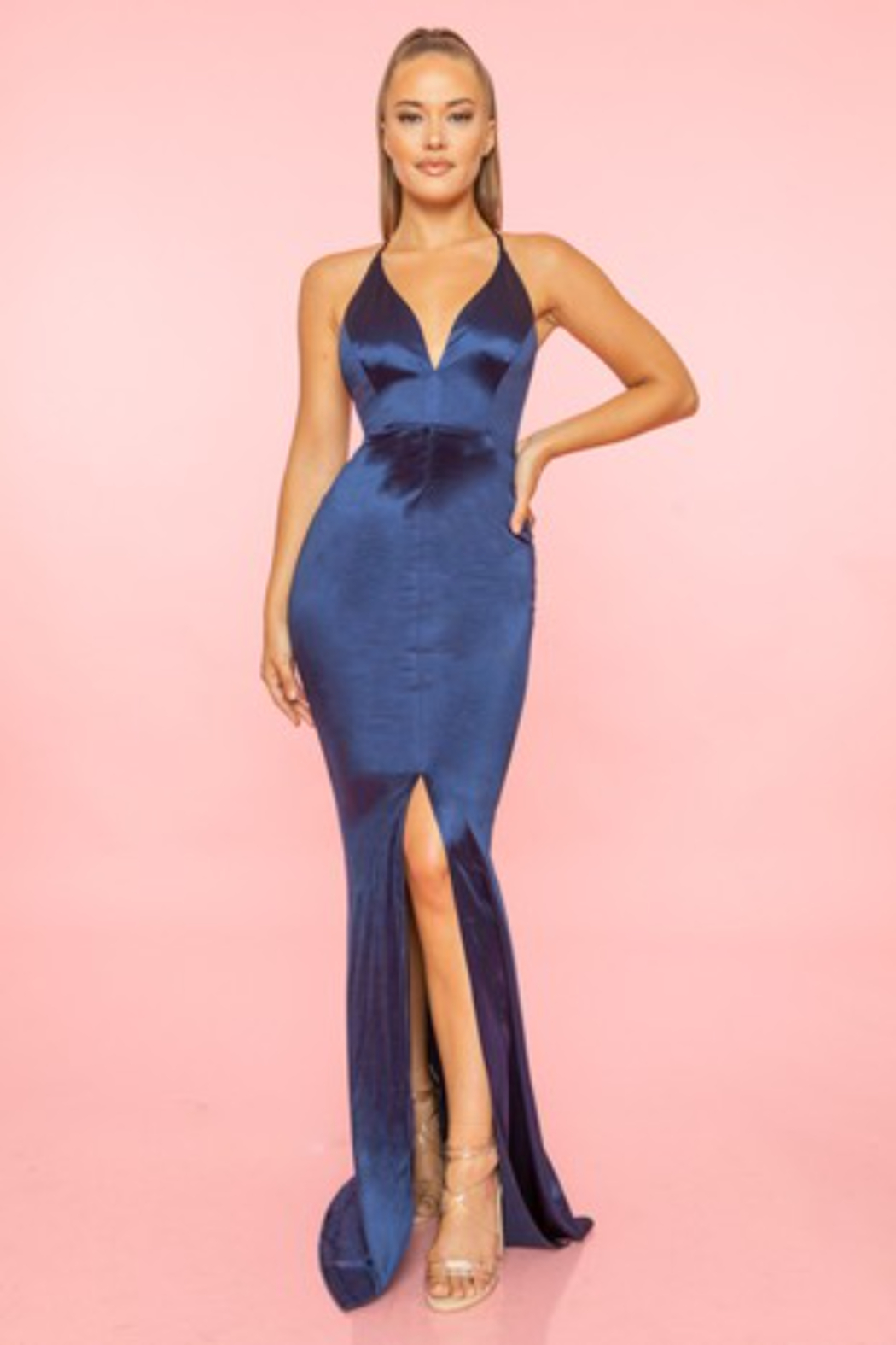 A. Peach Middle Slit Silk Gown - Main Image