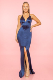 A. Peach Middle Slit Silk Gown - Product Mini Image