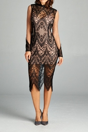 A Peach Midi Lace Dress - Front cropped