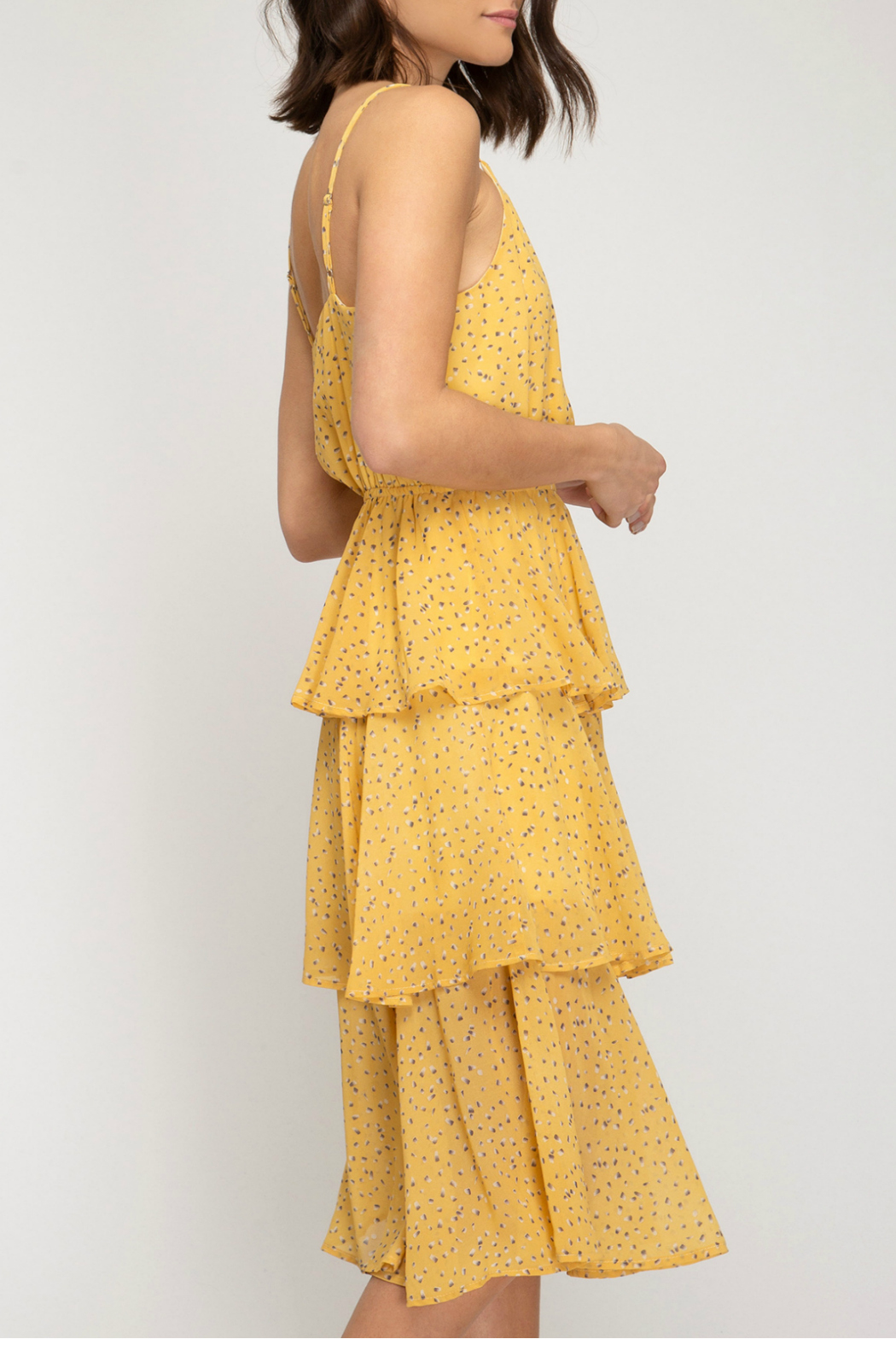 She and Sky Midi layered dress - Front Full Image
