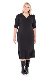 VKY & CO MIDI V-NECK RUCHED SLEEVES DRESS - Product Mini Image