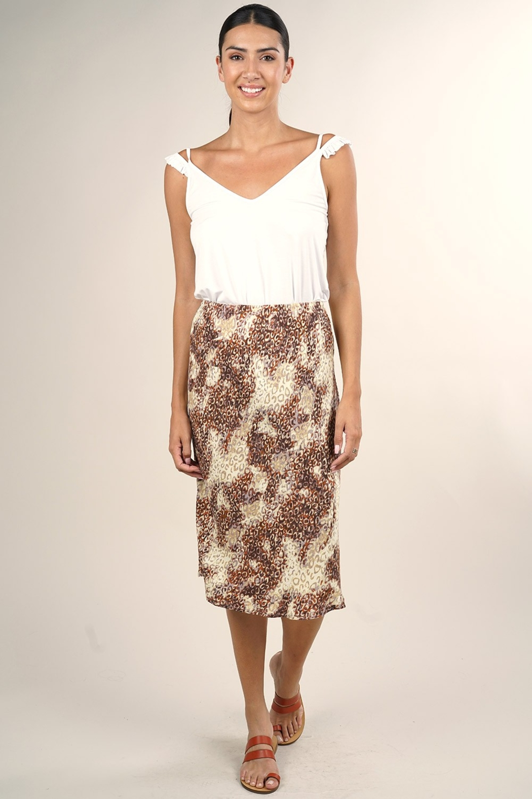 Lovestitch MIDI WATERCOLOR SKIRT - Front Cropped Image