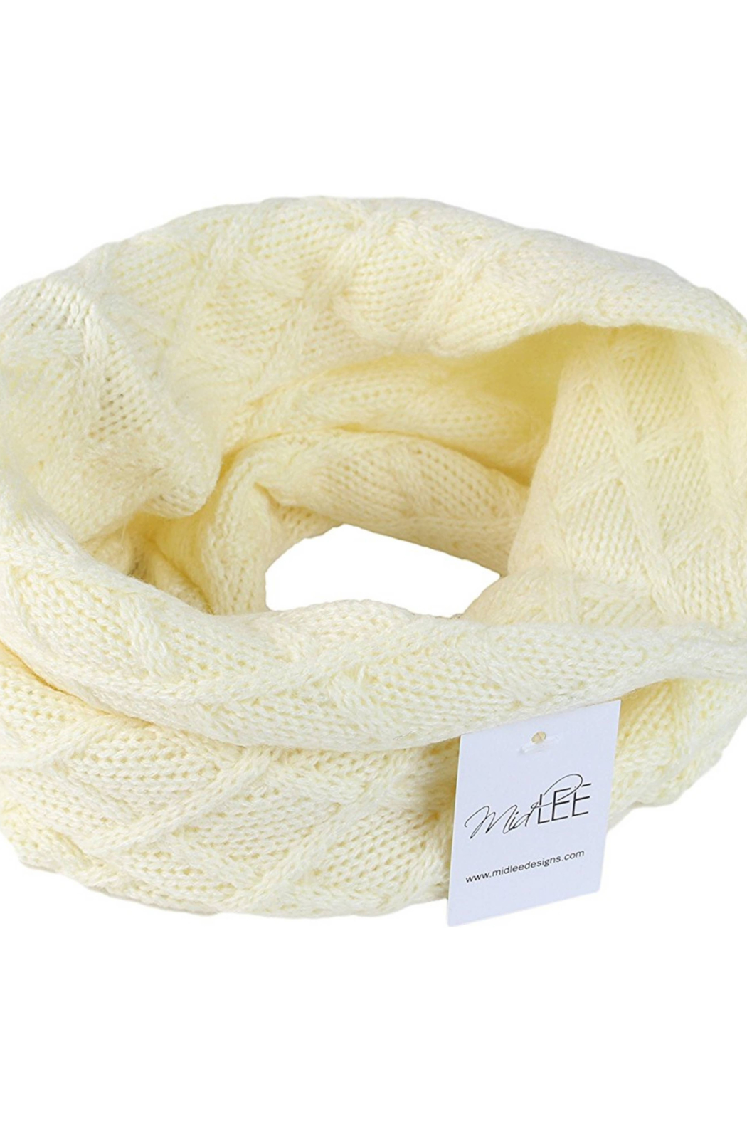 Midlee Designs Midlee Cream Knit Infinity Scarf for Dogs(Large) - Front Full Image