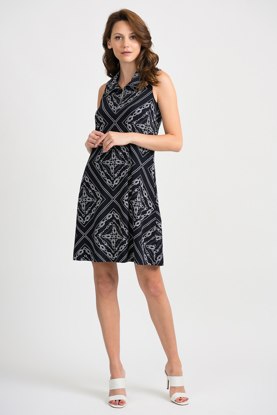 Joesph Ribkoff Midnight and vanilla collared dress - Front Cropped Image