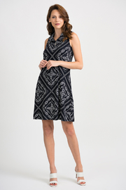 Joesph Ribkoff Midnight and vanilla collared dress - Front cropped