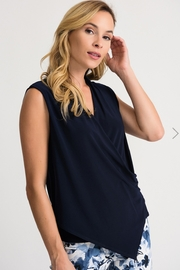Joseph Ribkoff Midnight blue asymmetrical wrap blouse - Front cropped