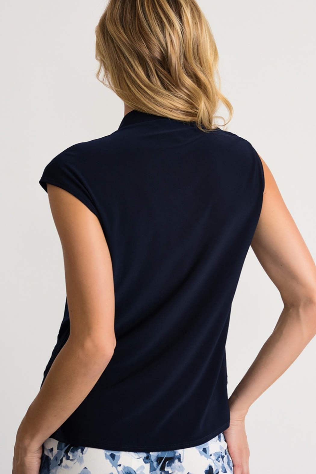 Joseph Ribkoff Midnight blue asymmetrical wrap blouse - Front Full Image