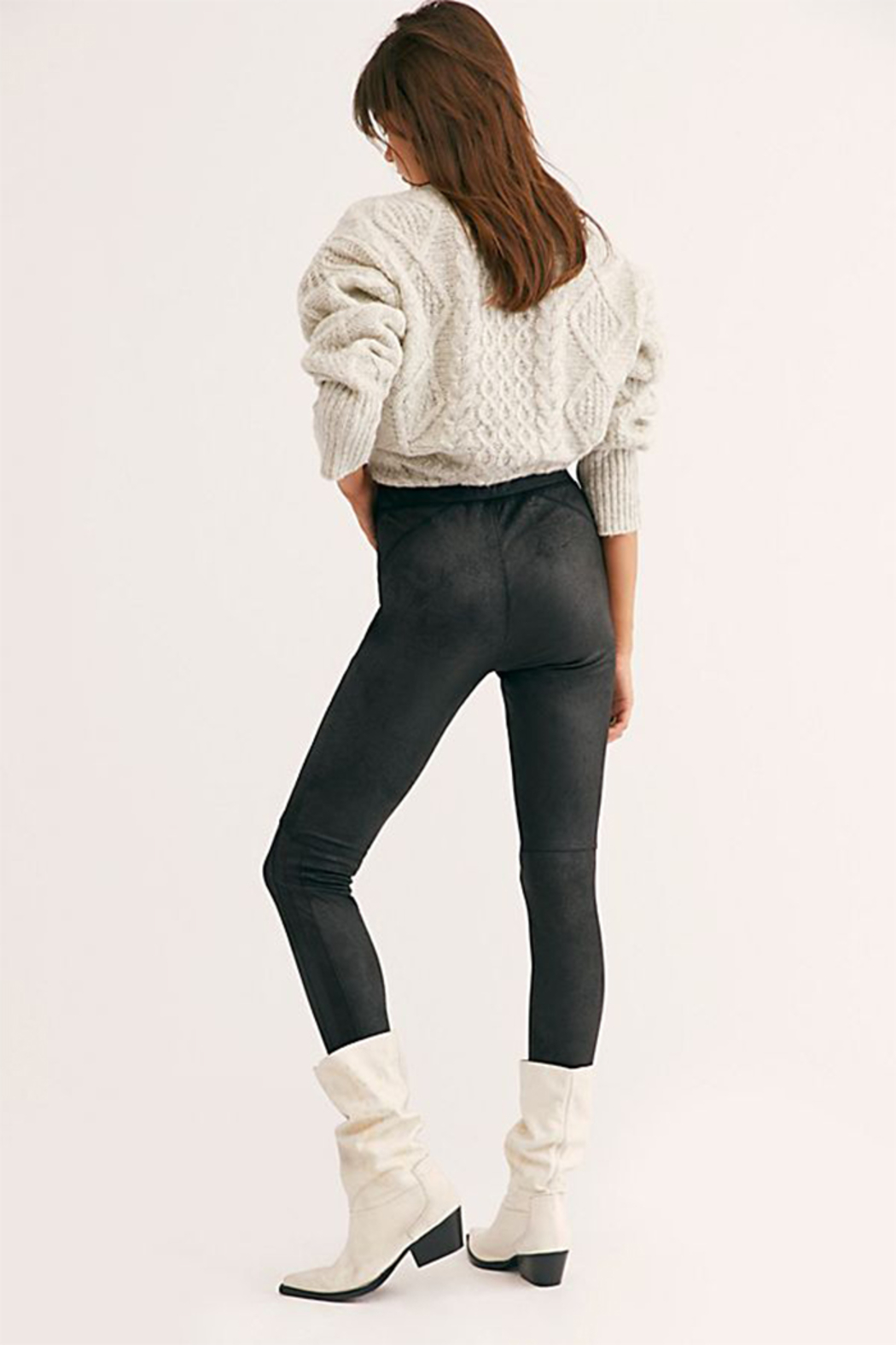 Free People Midnight Vegan Suede Skinny Pant - Front Full Image