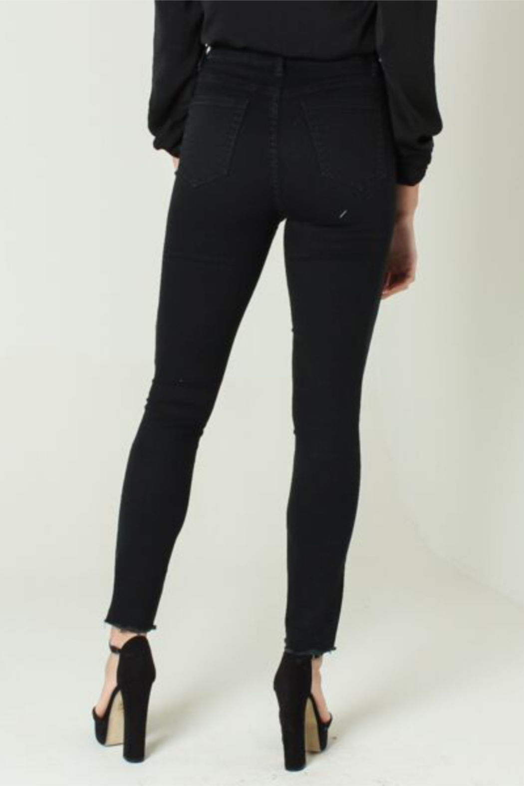 Funky Soul Midrise Black jean with gold side line - Side Cropped Image