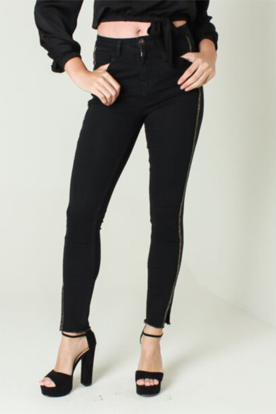 Funky Soul Midrise Black jean with gold side line - Front Full Image
