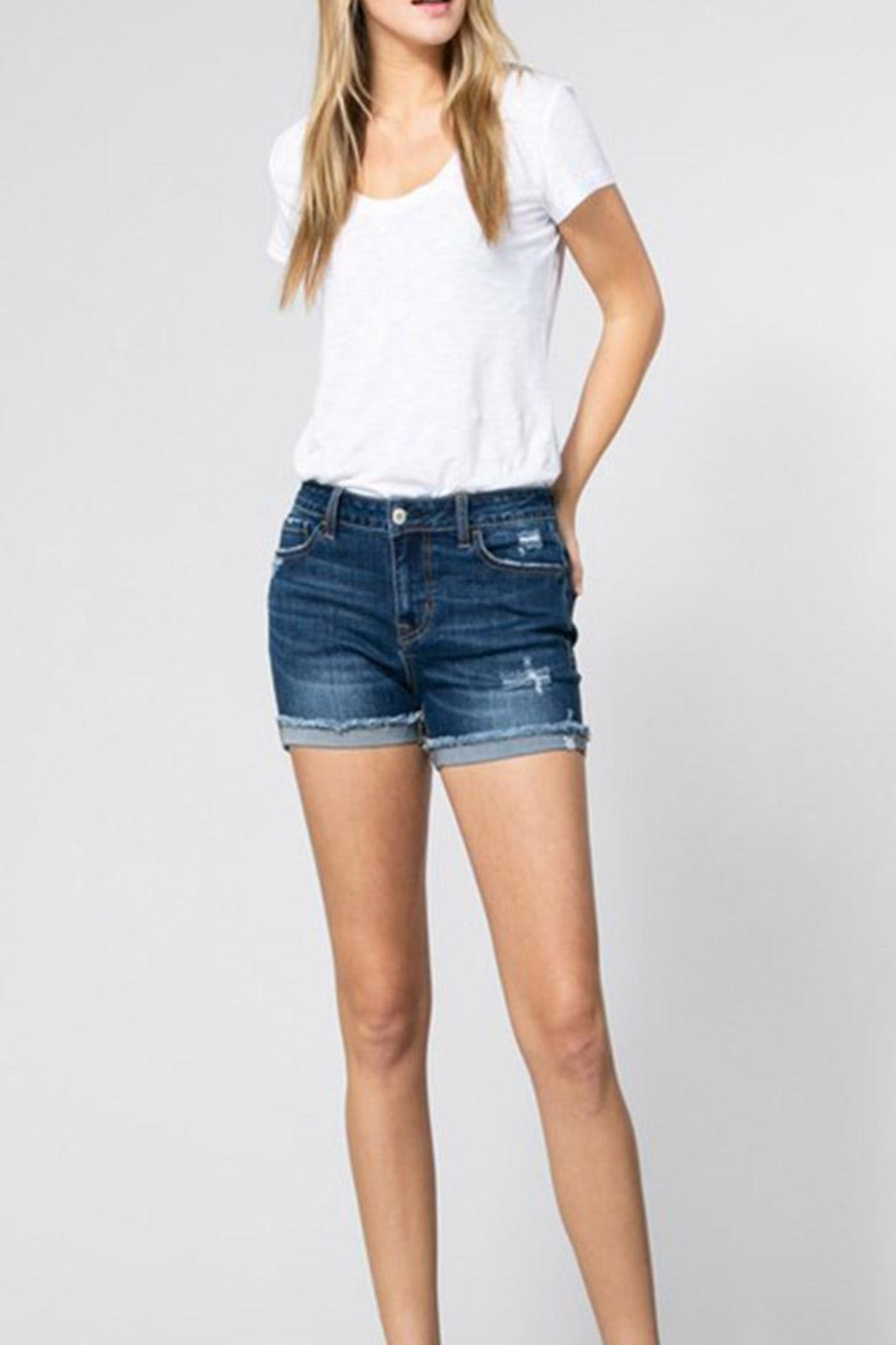 Klique B Midrise Cuff Shorts - Front Cropped Image