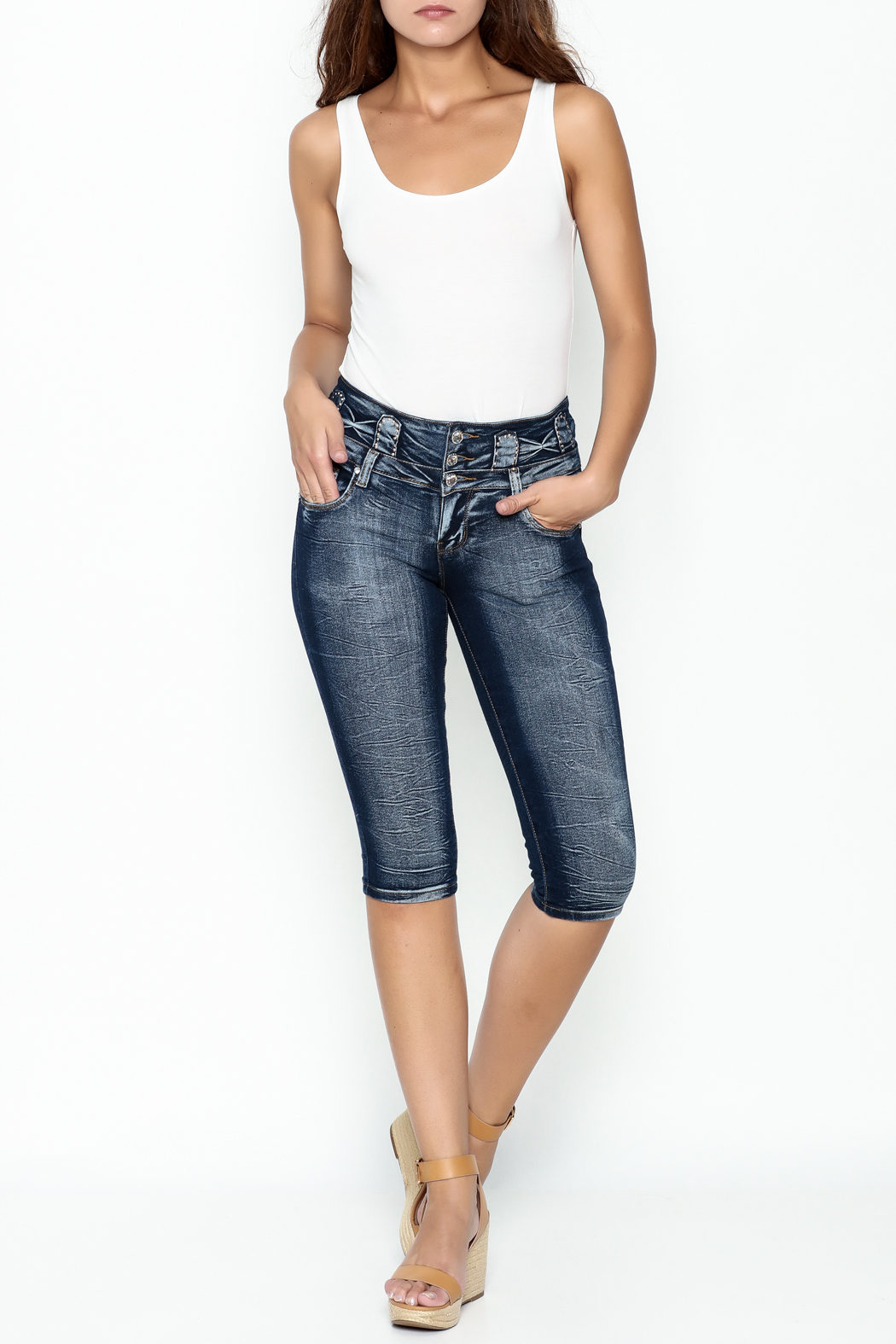 MiH Jeans High Waisted Denim Capris - Side Cropped Image