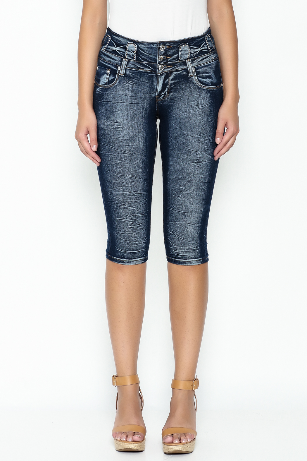MiH Jeans High Waisted Denim Capris - Front Full Image