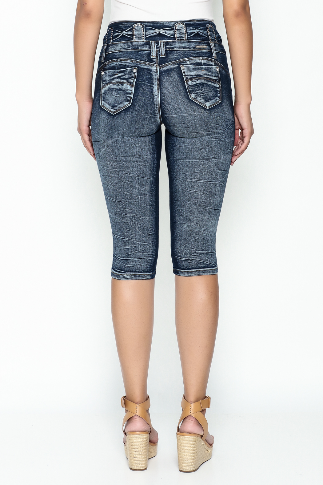 MiH Jeans High Waisted Denim Capris - Back Cropped Image