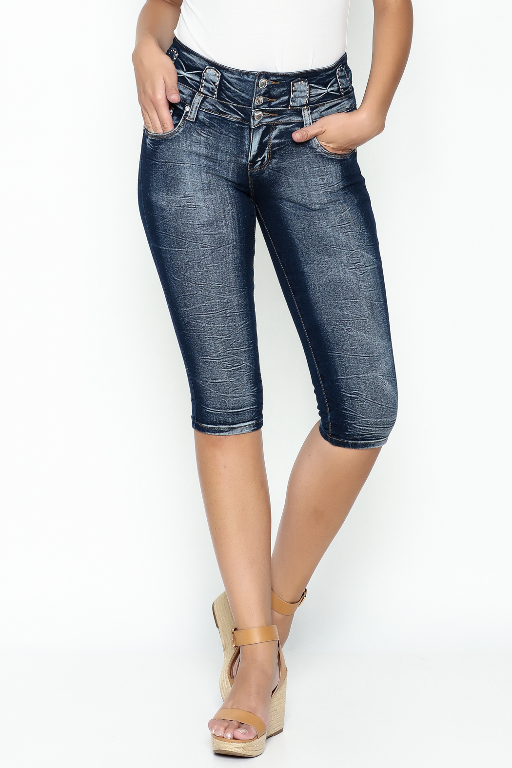 MiH Jeans High Waisted Denim Capris - Main Image
