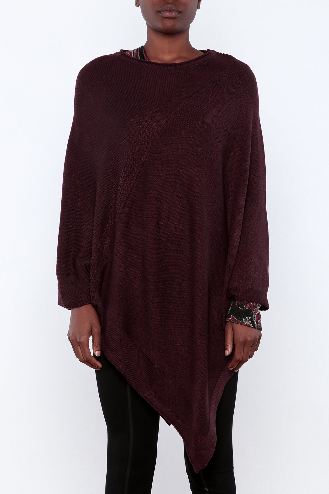 Miilla Burgundy Poncho - Side Cropped Image