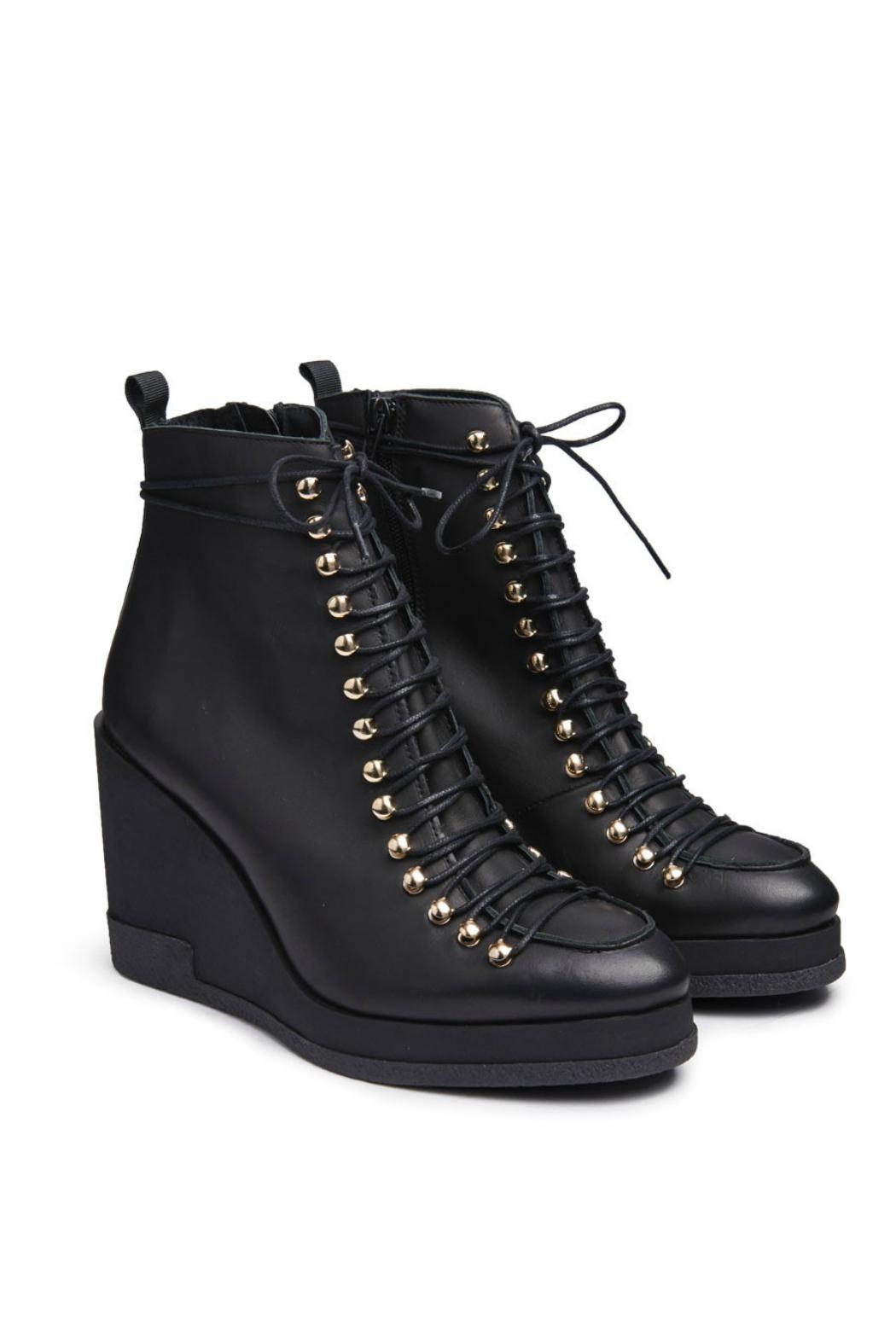 Miista Leather Lace-Up Wedge - Front Full Image