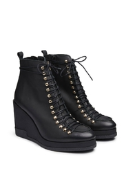 Miista Leather Lace-Up Wedge - Front full body