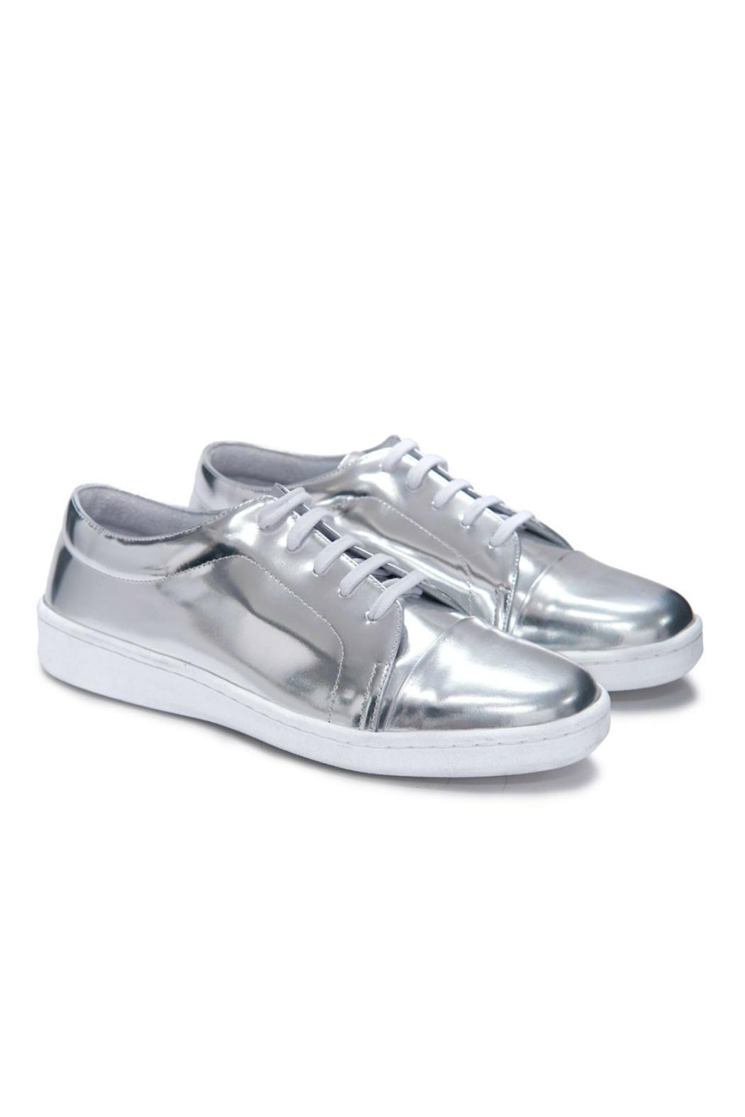 Miista Silver Sneaker From Des Moines By Peep Toe Shoptiques