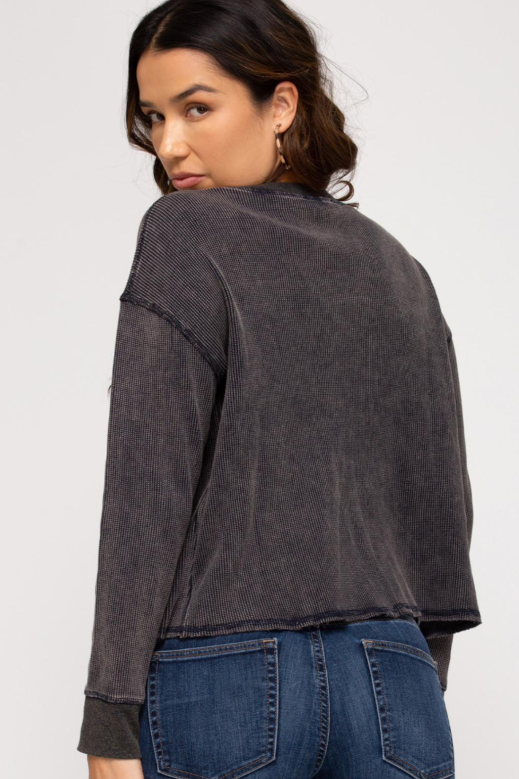 She & Sky  Mika Washed Thermal Pullover - Front Full Image