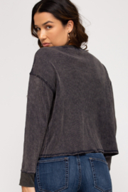 She & Sky  Mika Washed Thermal Pullover - Front full body
