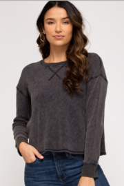 She & Sky  Mika Washed Thermal Pullover - Front cropped
