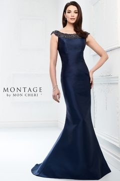 Montage Mikado Trumpet Gown, Navy - Product List Image