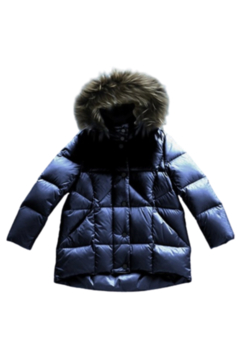 Shoptiques Product:  Mikkloe Down Filled Hooded Water Repellent Puffer Jacket with Removable Fur Trim | Winterwear