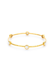 Julie Vos MILANO LUXE 6-STONE BANGLE-GOLD/PEARL(SMALL) - Product Mini Image