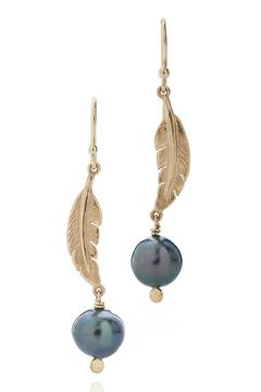 Shoptiques Product: Feather Earring With Pearls