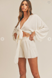 Mable Miley Bubble Sleeve Top + Shorts Set - Front full body